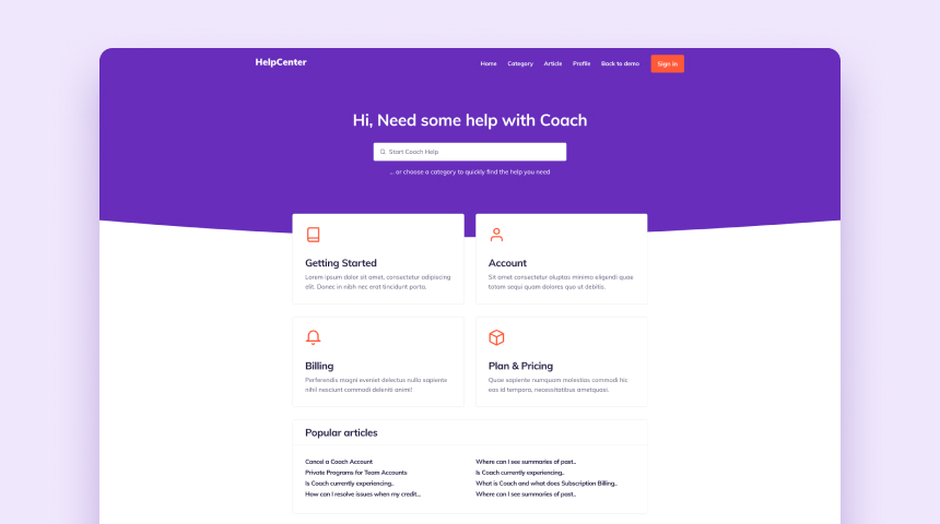 help center template design examples for your website.